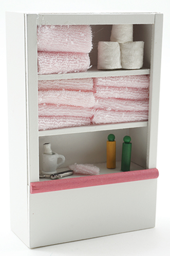 Dollhouse Miniature Linen Cupboard, Pink