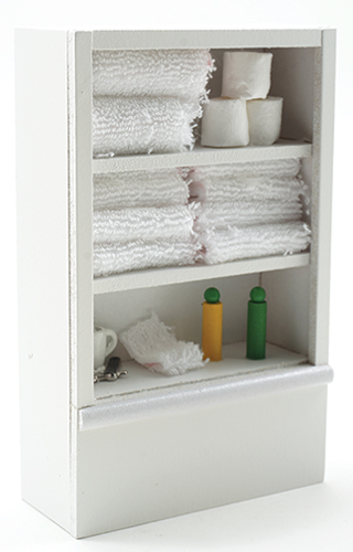 Dollhouse Miniature Linen Cupboard, White