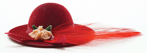 Dollhouse Miniature Red Hat With Feather