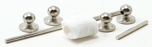 Dollhouse Miniature Silver Towel Bar & Toilet Paper Holder, 7Pc