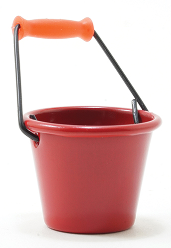 Dollhouse Miniature Red Bucket, 1 Pc