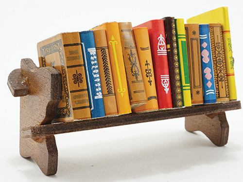 Dollhouse Miniature Books W/ Bookshelf