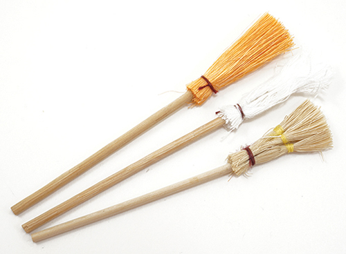 Dollhouse Miniature Brooms/Mop, 3/Pk