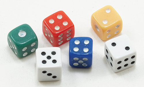 Dollhouse Miniature Dice, 6Pk