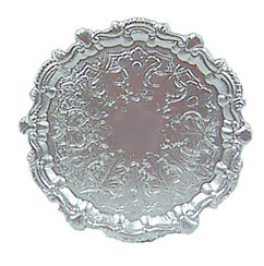 Dollhouse Miniature Round Silver Tray