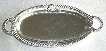 Dollhouse Miniature Large Silver Oval Tray