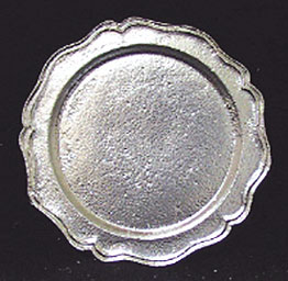 Dollhouse Miniature Round Tray Silver