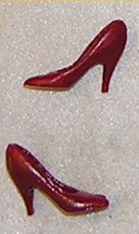 Dollhouse Miniature Shoes, High Heel Pumps, Red