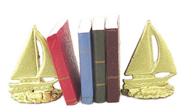 Dollhouse Miniature Sailboat Bookends W/Books