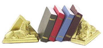 Dollhouse Miniature Sphinx Bookends W/Books