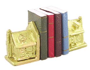 Dollhouse Miniature House Bookends W/Books
