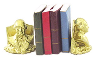 Dollhouse Miniature Washington Bookends W/Books
