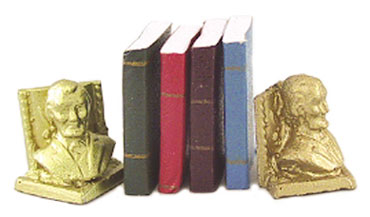 Dollhouse Miniature Lincoln Bookends W/Books
