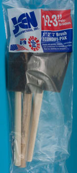 Dollhouse Miniature 1, 2, 3 In Sponge Brush Economy Pack, 1 Each Size