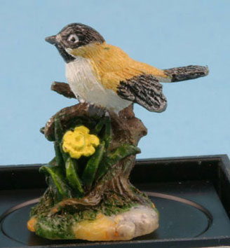 Dollhouse Miniature Black Capped (Hand Painted Bird Figure)