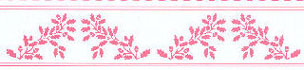 Dollhouse Miniature Border: Acorns, Pink On White
