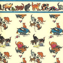 Dollhouse Miniature Wallpaper: Playful Kittens
