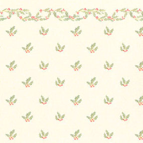 Dollhouse Miniature Wallpaper: Christmas Holly