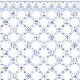 "Dollhouse Miniature Wallpaper:1/2"" Scale Dutch Tile, Blue On White"