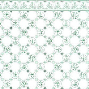 "Dollhouse Miniature Wallpaper:1/2"" Scale Dutch Tile, Green On White"