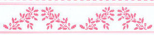 "Dollhouse Miniature Wallpaper:1/2"" Scale Border Acorns, Pink On White"