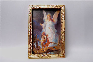 Dollhouse Miniature Guardian Angel Picture Framed