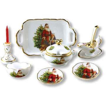 Dollhouse Miniature Reutter's Porcelain Fine Dollhouse Miniature Christmas Dinner Set For 2