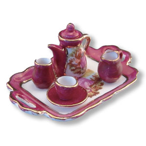 Dollhouse Miniature Limoges Style Tea Set with Tray