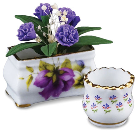Purple Flowers with Planter & Pot