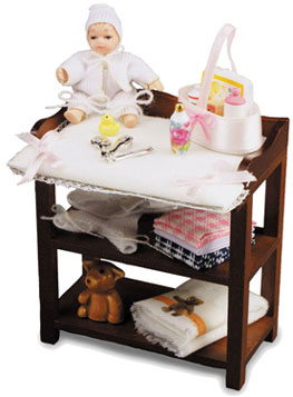 Dollhouse Miniature Baby Changing Table with Baby