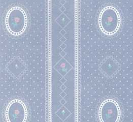 Dollhouse Miniature Wallpaper, Cameo Stripe Reverse, Blue
