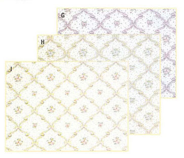 Dollhouse Miniature Wallpaper, Fleur D'Amour, Blue