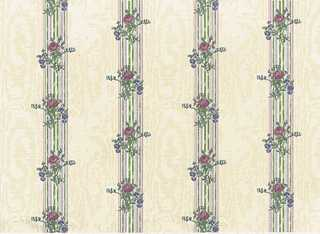 Dollhouse Miniature Wallpaper, Reflections, Cream (Rose)