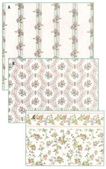 Dollhouse Miniature Wallpaper, Reflections, White (Peach)