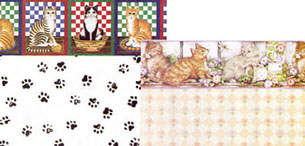 Dollhouse Miniature Wallpaper, Cat's Meow