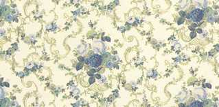 Dollhouse Miniature Wallpaper, Roosevelt Rose, Blue