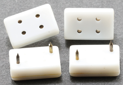 Dollhouse Miniature Petite, Double Wall Outlets, 4/Pk