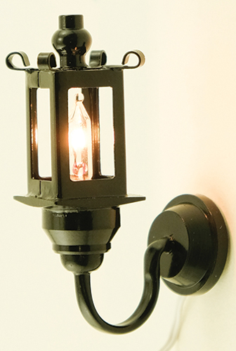 Dollhouse Miniature Black Coach Wall Lamp 12V