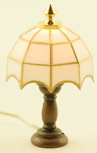 Dollhouse Miniature Tiffany Table Lamp, White