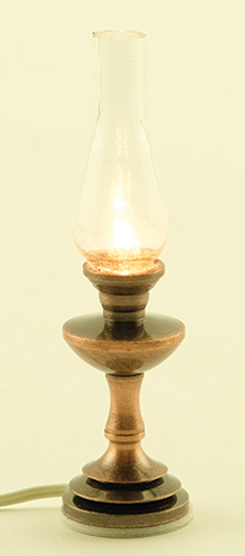 Dollhouse Miniature Hurricane Lamp, Antique Copper