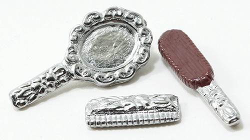 Dollhouse Miniature Dresser Set-Silver