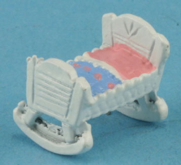 Dollhouse Miniature Cradle Hand Painted