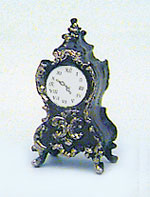 Dollhouse Miniature Ornate Clock, Brown with Gold