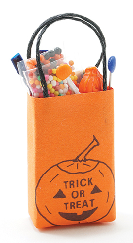 Dollhouse Miniature Trick Or Treat Bag Filled
