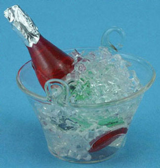 Dollhouse Miniature Champagne In Glass Ice Bucket