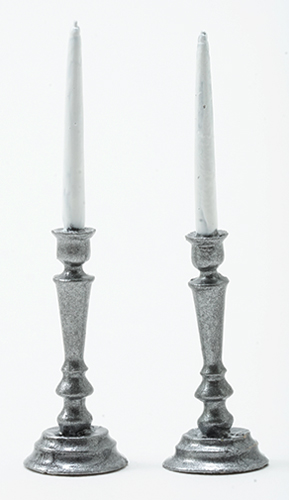 Dollhouse Miniature Pewter Candlesticks