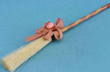Dollhouse Miniature Broom with Country Decoration