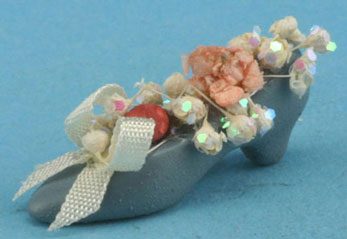 Dollhouse Miniature Country Shoe with Flowers