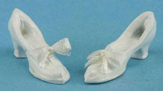 Dollhouse Miniature White Shoes with Bow