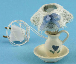 Dollhouse Miniature Electric Lamp with Lace Shade